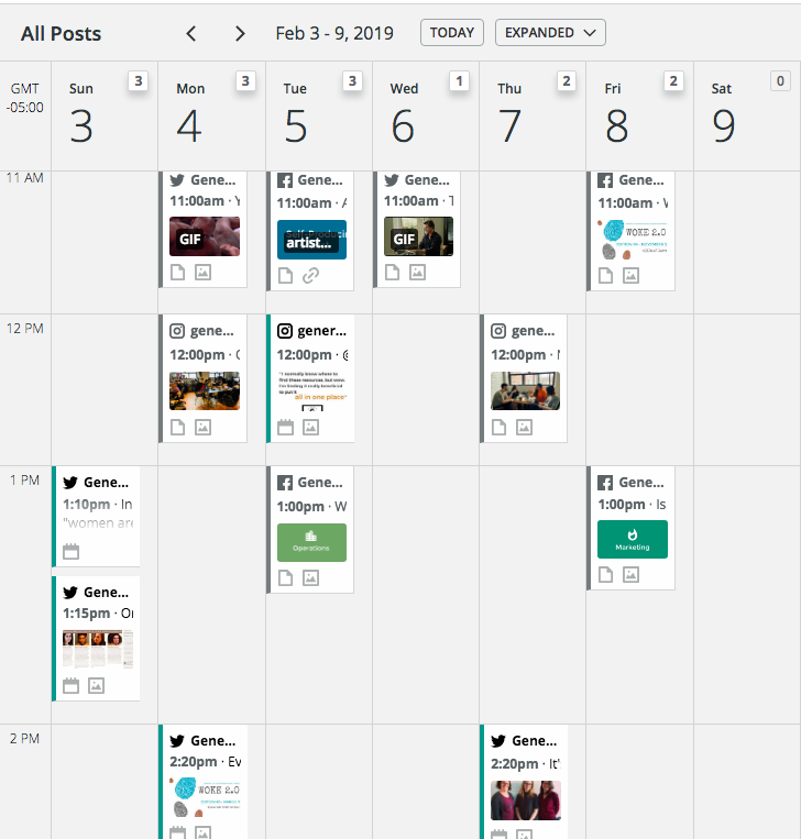 A screengrab of Generator's Hootsuite Planner, showing a week's worth of different content programmed to go out on different days across various platforms